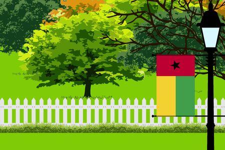 Guinea-Bissau Flag, Landscape of Park, Trees, Fence wooden and Street light Vector Illustration