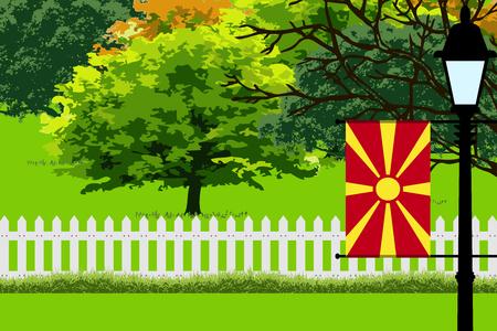 flag: Macedonia Flag, Landscape of Park, Trees, Fence wooden and Street light Vector Illustration