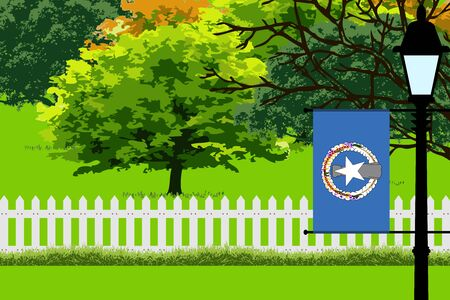 Northern Mariana Islands Flag, Landscape of Park, Trees, Fence wooden and Street light Vector Illustration