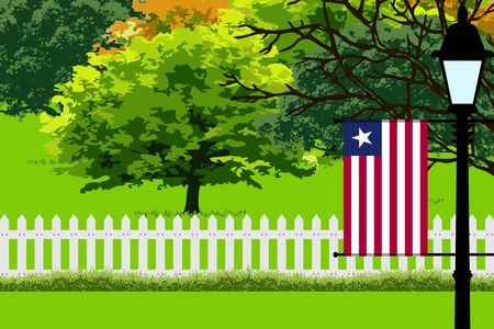 Liberia Flag, Landscape of Park, Trees, Fence wooden and Street light Vector Illustration Illustration