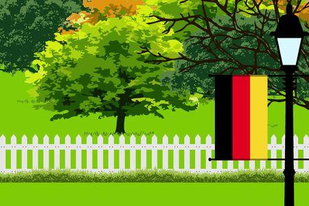 Germany Flag, Landscape of Park, Trees, Fence wooden and Street light Vector Illustration