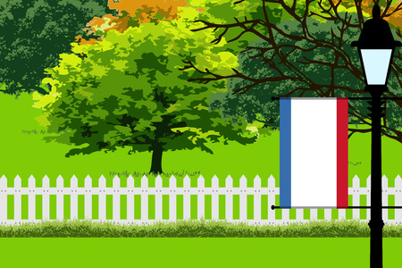Crimea Flag, Landscape of Park, Trees, Fence wooden and Street light Vector Illustration