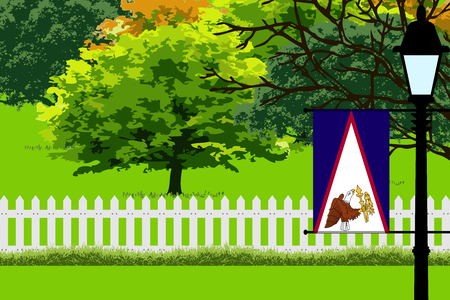 samoa: American Samoa Flag, Landscape of Park, Trees, Fence wooden and Street light Vector Illustration