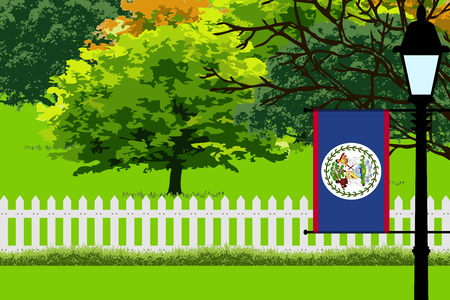 Belize Flag, Landscape of Park, Trees, Fence wooden and Street light Vector Illustration Illustration