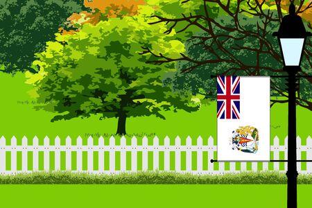 British Antarctic Territory Flag, Landscape of Park, Trees, Fence wooden and Street light Vector Illustration Illustration