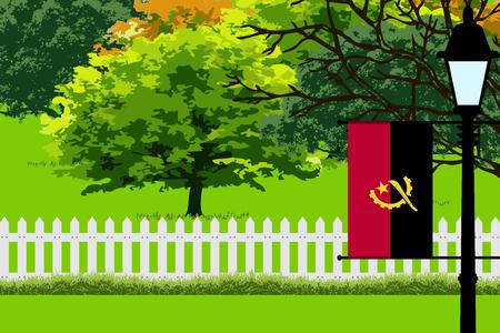 Angola Flag, Landscape of Park, Trees, Fence wooden and Street light Vector Illustration