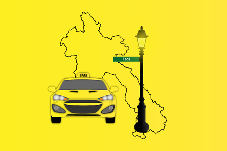 Illustration of Taxi and Street Lamp with Laos map