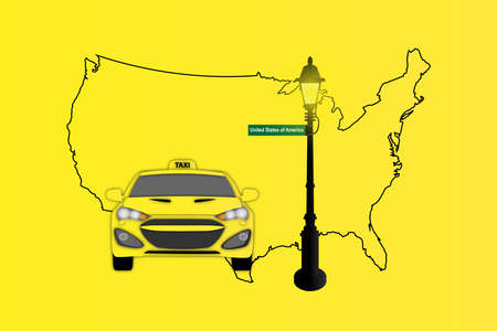 Illustration of Taxi and Street Lamp with United States map