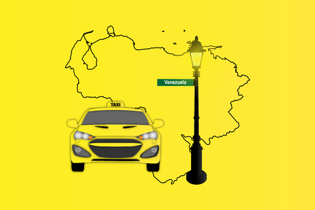 Illustration of Taxi and Street Lamp with Venezuela map