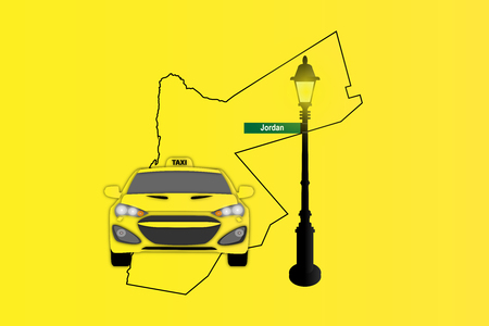 Illustration of Taxi and Street Lamp with Jordan map Stock Photo