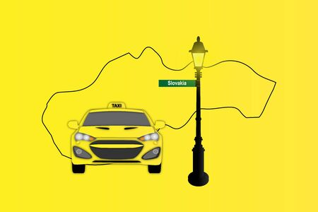 Illustration of Taxi and Street Lamp with Slovakia map Stock Photo
