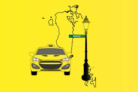 Illustration of Taxi and Street Lamp with Bahrain map