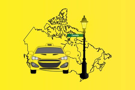 Illustration of Taxi and Street Lamp with Canada map Stock Photo