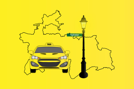 Illustration of Taxi and Street Lamp with Tajikistan map Stock Photo