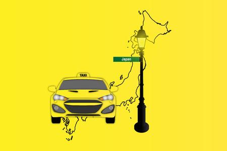 日本地図とタクシーと街路灯のイラスト