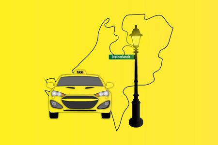 map of netherlands: Illustration of Taxi and Street Lamp with Netherlands map Stock Photo