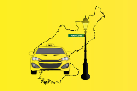 Illustration of Taxi and Street Lamp with North Korea map