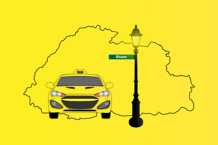 Illustration of Taxi and Street Lamp with Bhutan map,