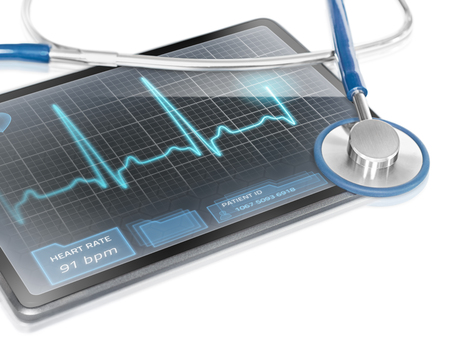 Modern tablet with screen displaying ECG