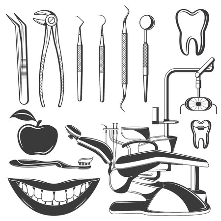 Set of dental monochrome icons, design elements isolated on white background. Dental tools and dental care tools care.