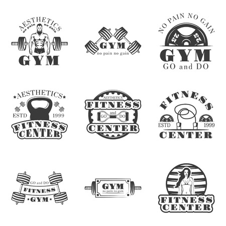 symbols: Fitness and bodybuilding set of vector vintage emblems, labels, badges and logos in monochrome style.