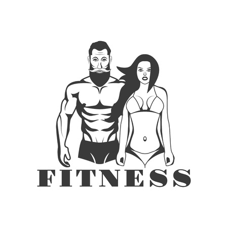 man: Man and woman of fitness vector vintage emblems, labels, badges and logos in monochrome style on white background.