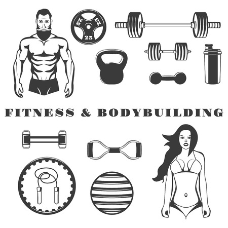 bracing: Set of fitness and bodybuilding equipment monochrome icons, design elements isolated on white background. Illustration