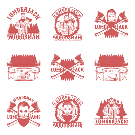 Lumberjack set of vector vintage logos