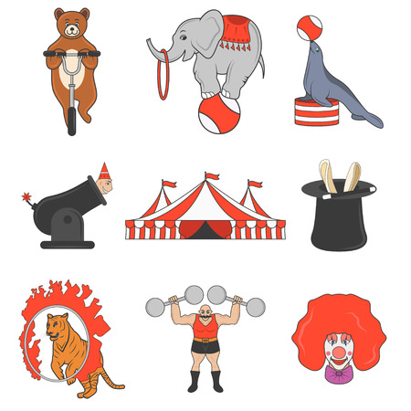 Set of circus color icons