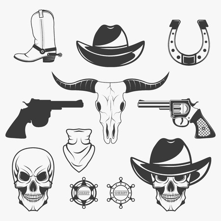 Set of wild west cowboy monochrome icons, design elements isolated on white background. Wild west and rodeo symbols