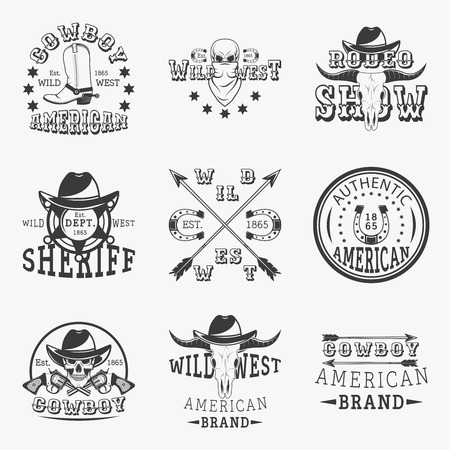 Wild west, rodeo show, sheriff, cowboy set of vector vintage emblems, labels, badges and logos in monochrome style on white background