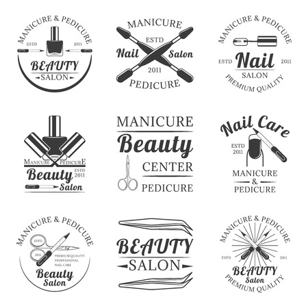 Manicura y pedicura, salón de belleza conjunto de vector vintage logos