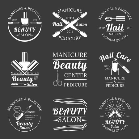 Set of manicure and pedicure, beauty salon, nail care salon monochrome vector labels, emblems and logos isolated on white background Illustration