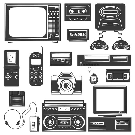 Set of gadget of 90s monochrome icons, design elements isolated on white background 向量圖像
