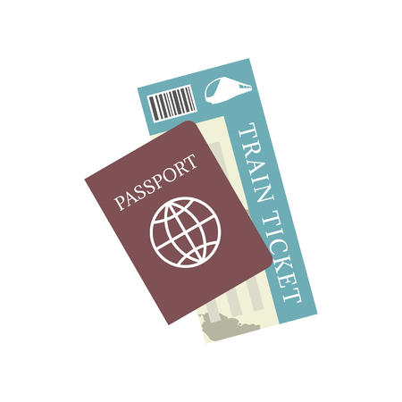 Passport and train ticket vector icon. Concept travel and tourism. 矢量图像