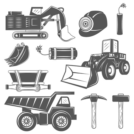 industrial machinery: Set of icons Mining industry in monochrome vintage style with professional tools and machineries Illustration