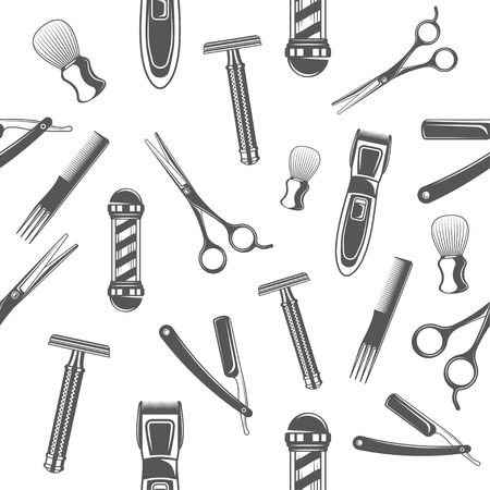 Seamless pattern with monochrome tools for barber shop and shaving accessories collection.