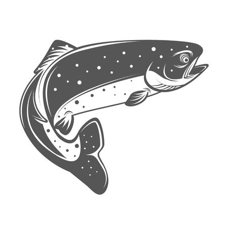 흑백 빈티지 스타일에서 송어 물고기 벡터 일러스트 레이 션. 로고, 레이블, 엠블럼을위한 디자인 요소.