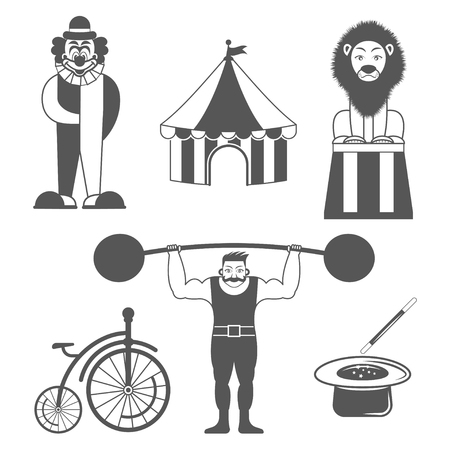 the strongest: Set of circus monochrome icons . Design elements for logo, label, emblem.