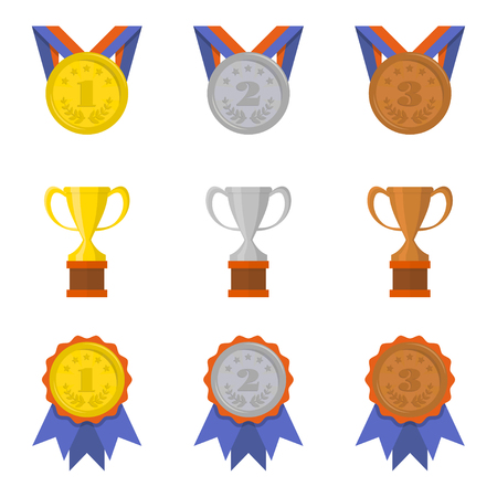 Set of cups and medals icons in a flat style 矢量图像