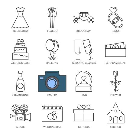 Vector black line wedding icons set