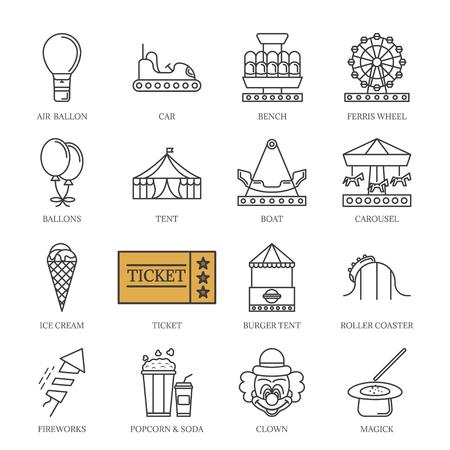 Vector black line amusement park icons set. Illustration