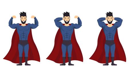 Superhero posing icon set on white background