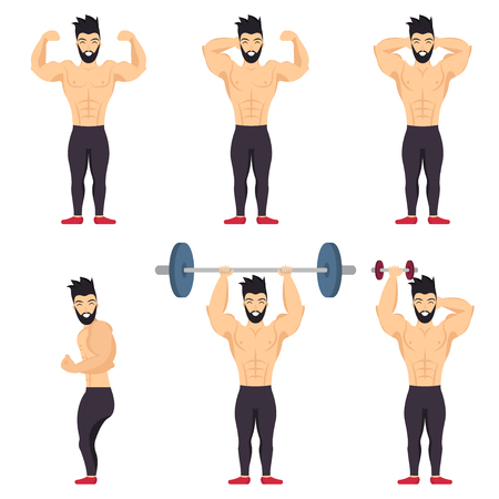 Positive bodybuilder posing icon set on white background. Body positive people.