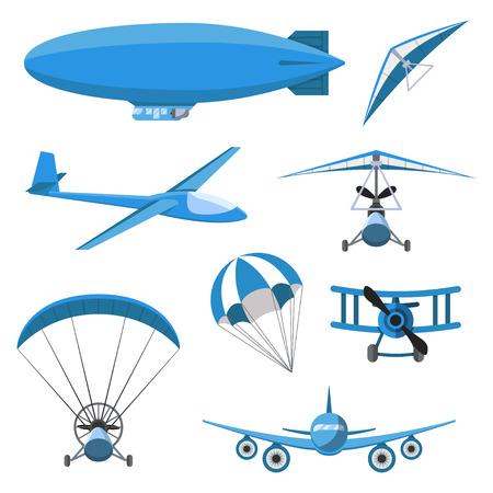 Aircrafts icons set on white background. Parachute, airship, Hang-glider, airplane, Trike, glider, Paraplane.