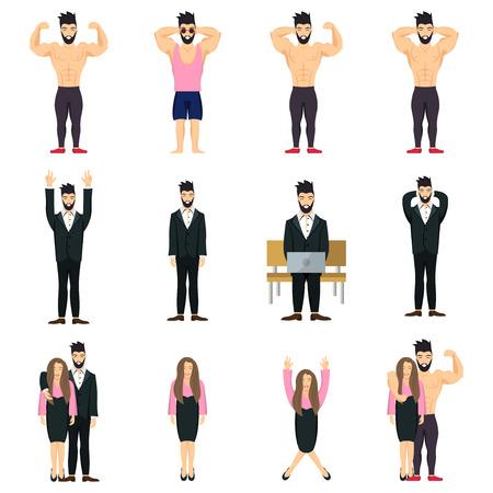 Positive people icon set. Bodybuilder positive posing. Businessman positive. Businesswoman positive.