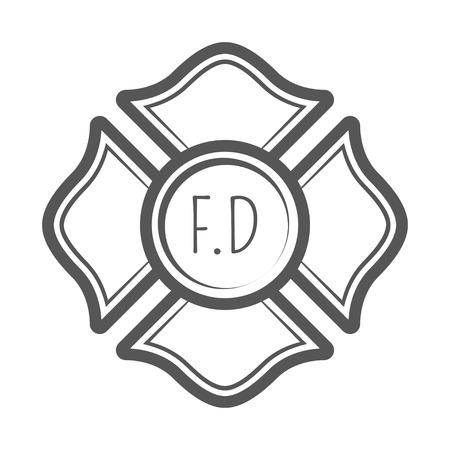 Cross firefighter vector illustration in monocrome vintage style. Illustration