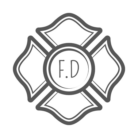 Cross firefighter vector illustration in monocrome vintage style. Illustration