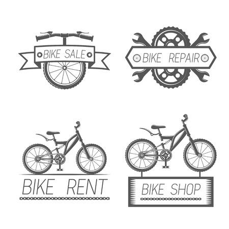 Set of vintage bike and bicycle equipment elements in monochrome style logos, emblems, labels and badges.