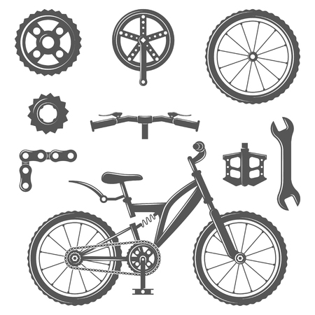 Set of vintage bike and bicycle equipment elements in monochrome style. 矢量图像